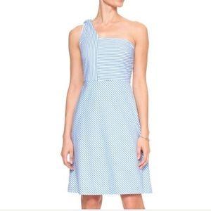 BR  8 Dress Seersucker Stripe 1 Shoulder ALine NWT